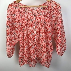 Liberty Love white sheer button up blouse